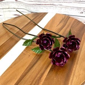 Metal Long Stem Roses - Faux Flowers